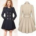 Пальто женщин весной и осенью длинный и тонкий тонкий пригородных ветровка пальто 3XL G1222