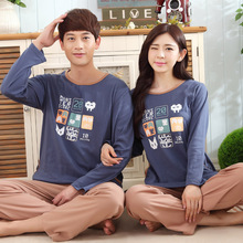 2017 Spring New Women Pajamas Cotton Couple Pyjama Sets High Quality Men Pijamas Female Nightgrown Sleepwear Homeclothing Blue