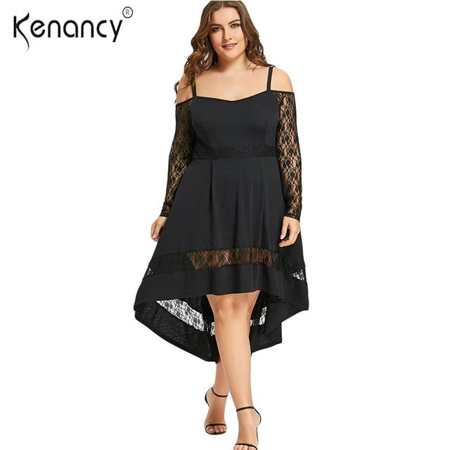 Kenancy Gothic 5XL Plus Size Sexy Lace Trim Black Dress Women Cold Shoulder  Long Sleeve Mid 312d0bca70