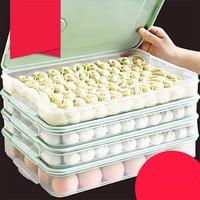 Plastic Refrigerator Fresh keeping Dumpling Storage Box 2 4 Layers Portable Stackable Dumpling Container Holder Organizer
