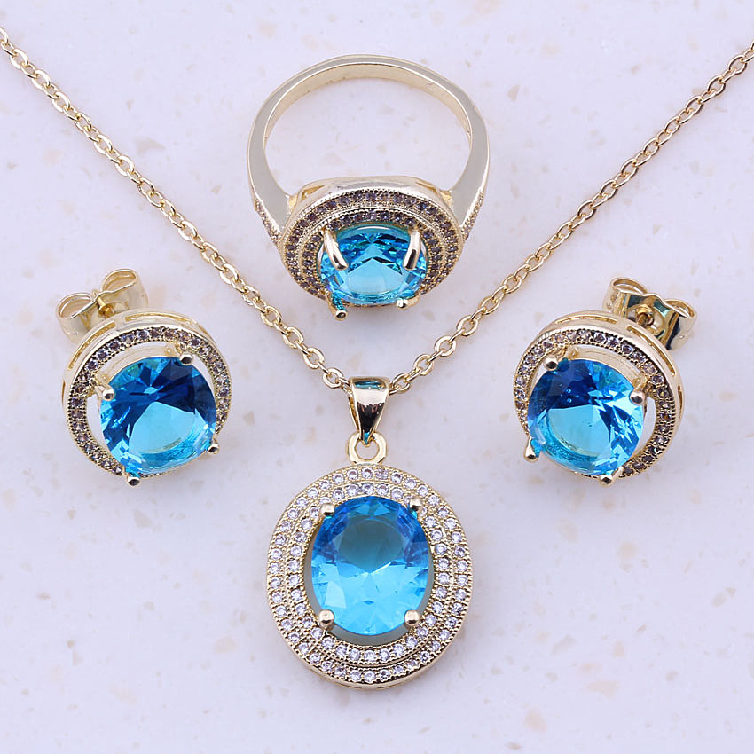 Brilliant Sky Blue Imitation Toapz Cubic Zircon Gold Color Fashion Jewelry Sets For Women Trendy Jewelry Free Gift Box E0029