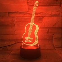 Bass Guitar USB 3D LED Night Light Lampara Multicolor RGB Boys Child Kids Baby Gifts Atmosphere Table Lamp Bedside neon
