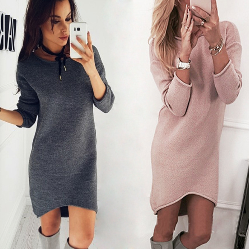 2018 Spring&autumn Solid color crew neck long sleeve sweater long bottoming sweater for women Fashion hot women's sweaters