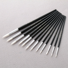 12Pcs/Lot Paint Brush Different Size Black penholder White Nylon Hair Oil Painting Brushes Watercolor Acrylic Drawing Art