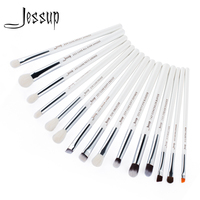 Jessup Brand Pearl White Silver Professional Makeup Brushes Set Make Up Brush Tools Kit Eye Liner