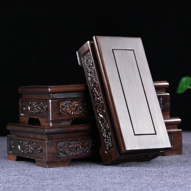 Ebony carve pedestal home decoration collect wood base potted plant base redwood