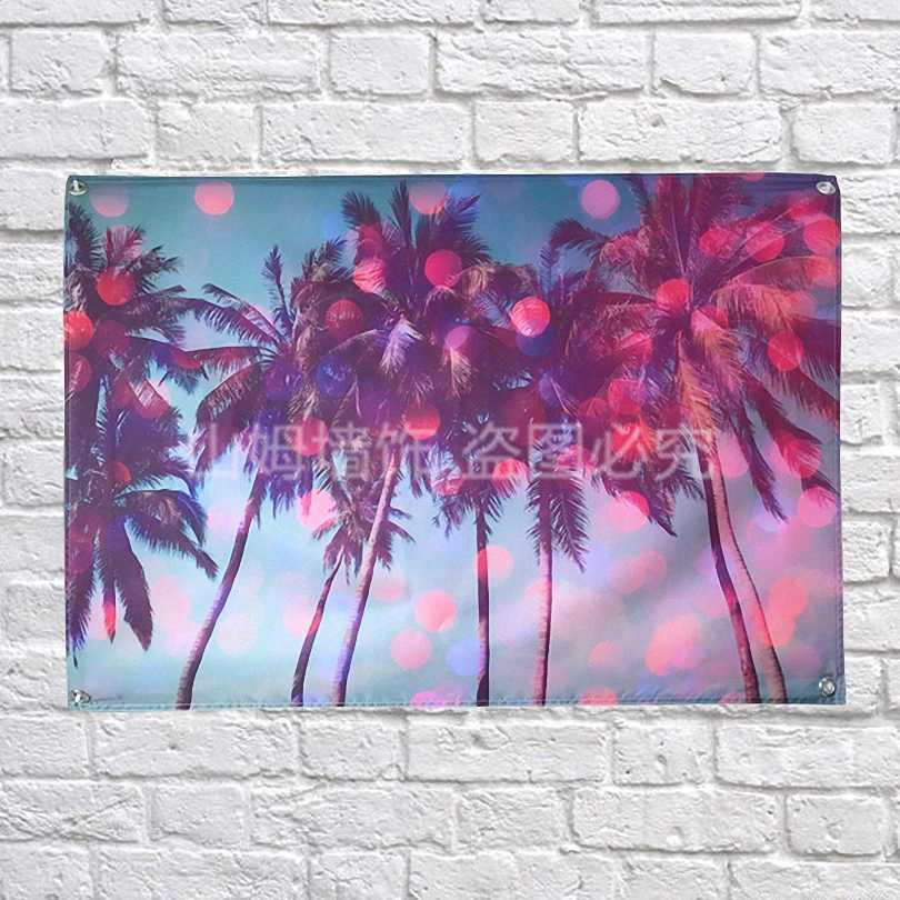 أحمر جوز الهند شجرة ملصق لافتات موضوع مقهى فندق جدار زخرفة شنقا الفن قماش أعلام البوليستر النسيج للماء