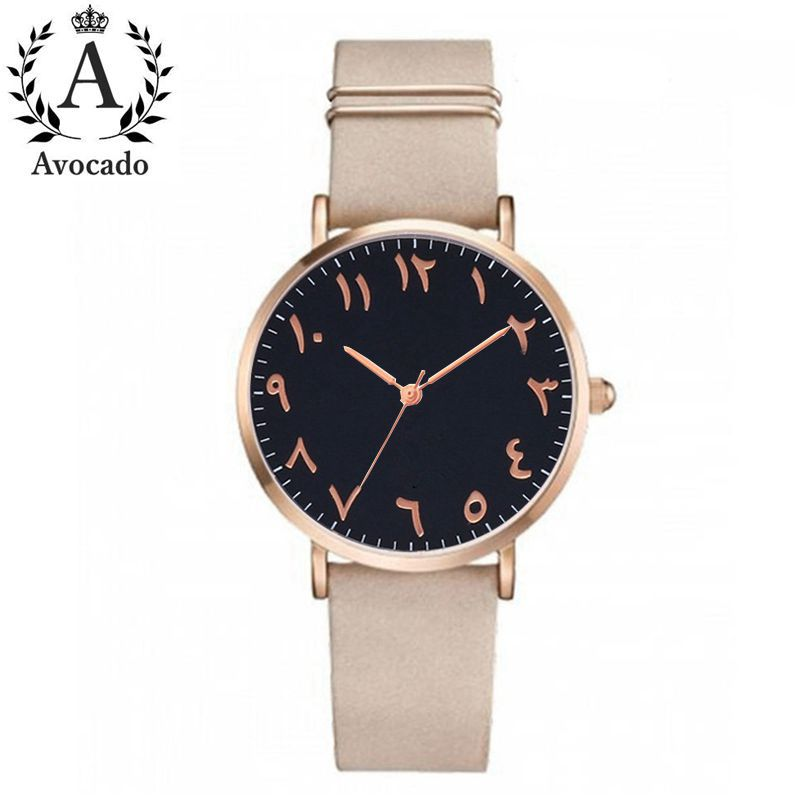 Avocado Fashion Arabic Numbers Women Watch Ladies Quartz Watch Luxury Brand Leather Wristwatch Dress Clock Relogio Feminino