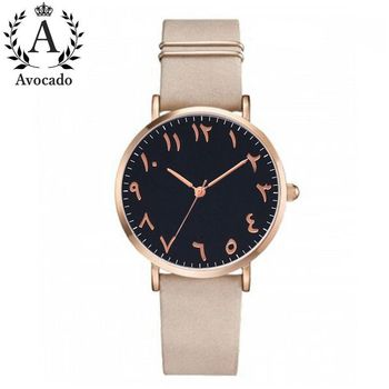 Avocado Fashion Arabic Numbers Women Watch Ladies Quartz Watch Luxury Brand Leather Wristwatch Dress Clock Relogio Feminino 2017 new fashion women watch pu leather bracelet watch casual women wristwatch luxury brand quartz watch relogio feminino gift