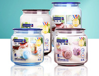 4pcs Domestic Glass Sealed Cans Storage Bottle Kitchen Glass Jar Canister Tea Cans Home Coffee Cosmetic Jewelry Storage Tank