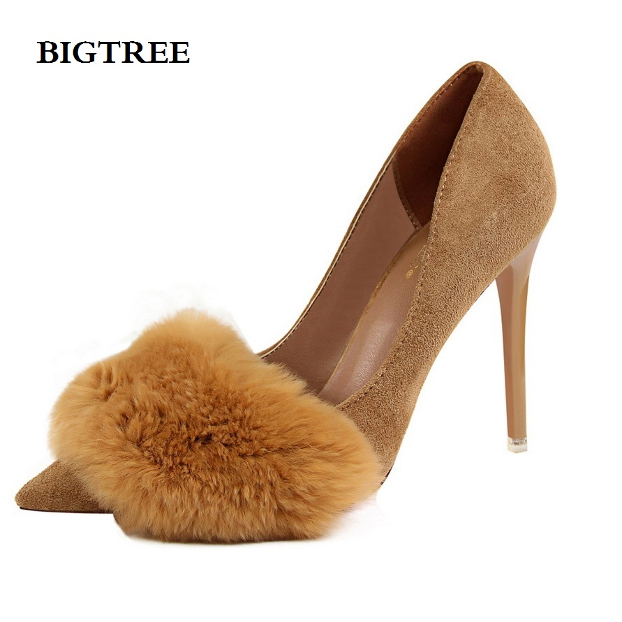 Bigtree Shoes Woman High Heels Pumps Red 10CM Fashion Sexy women's shoes with high-heeled suede pointed mouth rabbit hair 2017 new high heeled shoes woman pumps wedding shoes platform fashion women shoes red high heels 11cm suede free shipping 186