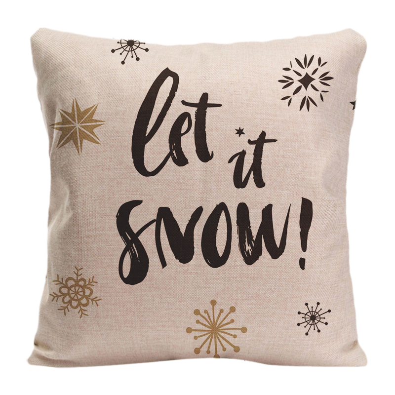 Cotton Linen Let It Snow Christmas Calligraphy Throw Pillow Case Decorative Cushion Cover Pillowcase Customize Gift For Seat