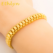 Ethlyn Women bracelet jewelry 19cm*8mm Gold Color  classic jewelry dubai/Ethiopian/ African jewelry wholesale B010