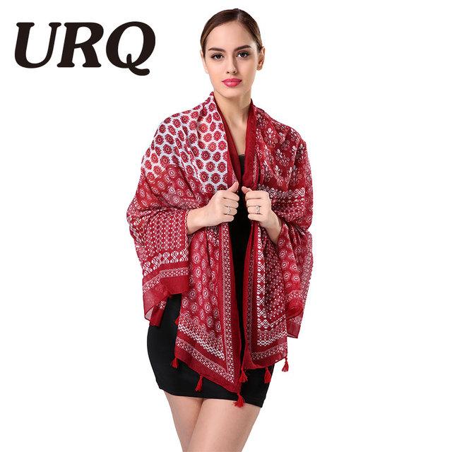 art bohemian geometric floral tassel scarf ethnic red muslim scarves hijab brand design Japanese 2016 100*180