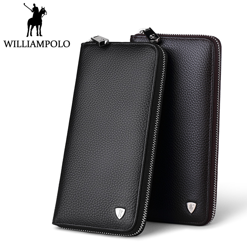 WILLIAMPOLO Original Brand Clutch Bag Men Wallet Genuine Leather Fashion Small Logo Hand Wallet Long Business carteira masculina