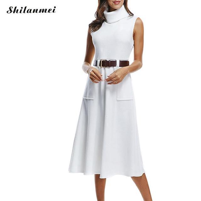 Vestido blanco cuello alto