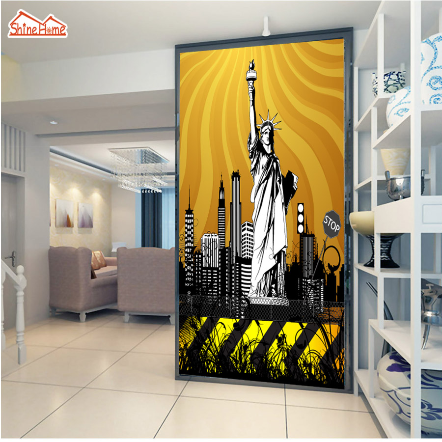 ShineHome-Statue of Liberty Background City Landmark Wallpaper for 3 d  Living Room Wall Paper Mural for 3d Walls Wallpapers shinehome rose bloom floral wallpaper for 3d rooms walls wallpapers for 3 d living room wall paper murals wallpaper mural roll