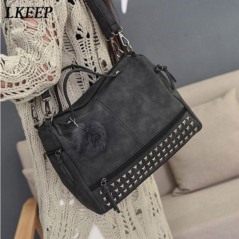 Vintage Nubuck Leather Ladies Messenger Bag Rivet Larger Women Bags Hair Ball Shoulder Bag Motorcycle Handbags Top-Handle Bag 6