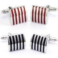 1pair Black/Red Cufflinks For Men Jewelry High Quality Hot Sale Classic Stripe Square Men Cuff Links Wedding Mens Custom P0.15