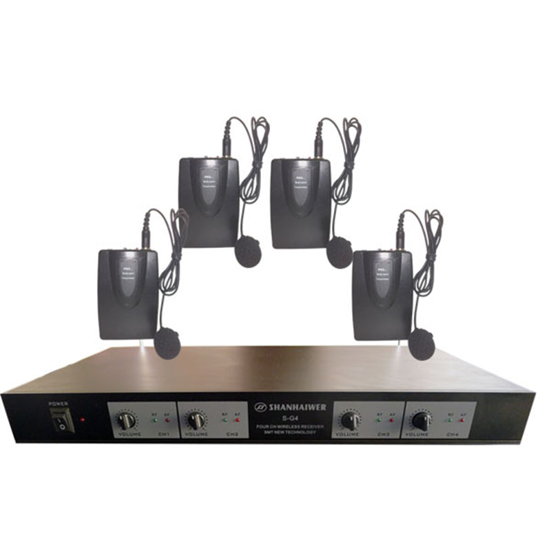 Professional Dynamic UHF 4 channel collar-clip wirless karaoke microphone system customized Mic Player Communication Speaker