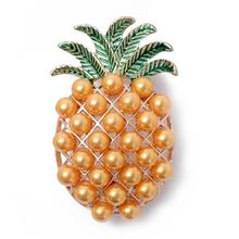 Fashion Cute Hollow Pineapple Brooch for Women Lapel Pin Yellow Beads Fruit Jewelry Beach Party Summer Accessories