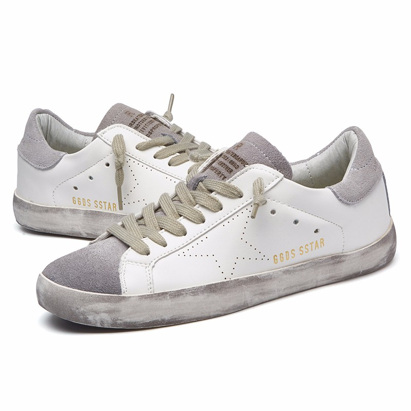VIXLEO casual shoes Italy Golden Genuine Leather Casual women Flats Trainers Goose star shoes Breathe Shoes Footwear Zapatillas tba brand designer 2018 italy golden genuine leather casual women shoes trainers goose star breathe shoes footwear zapatillas
