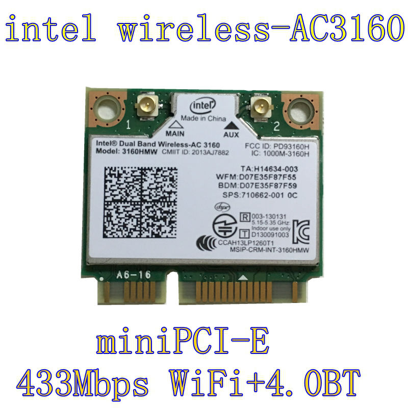 Intel 3160.HMWG.R Dual Band Сымсыз AC + Bluetooth Mini PCIe картасы 2.4 және 5.8 ГГц B / G / N / AC бұрандалары бар Bands қолдайды