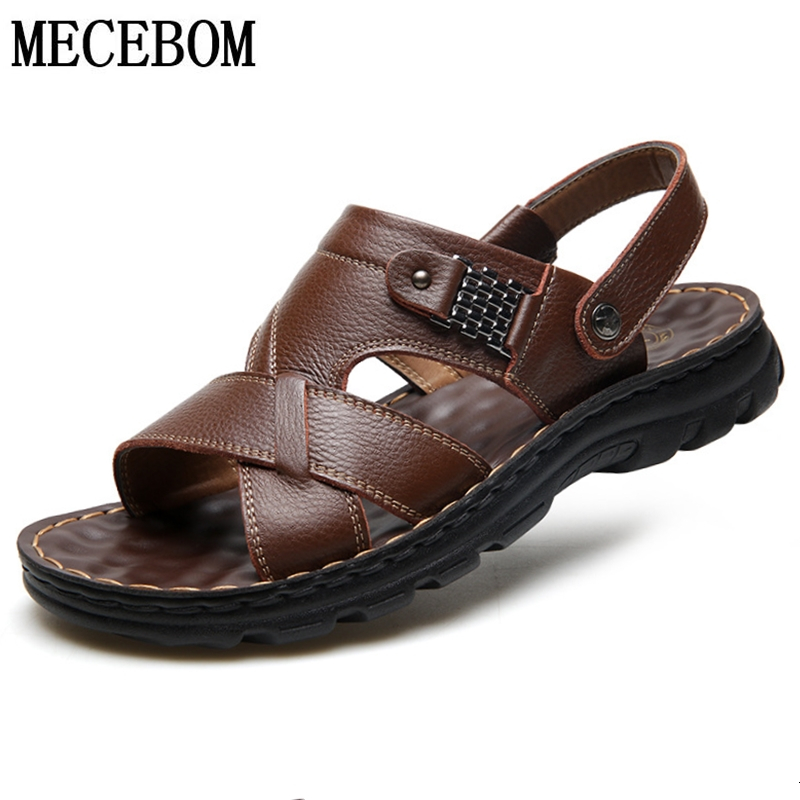 Summer Men Sandals Brand Comfortable Driving Leather Men Shoes Thickened Sole Men Beach Slippers Sandalias Hombre 888m