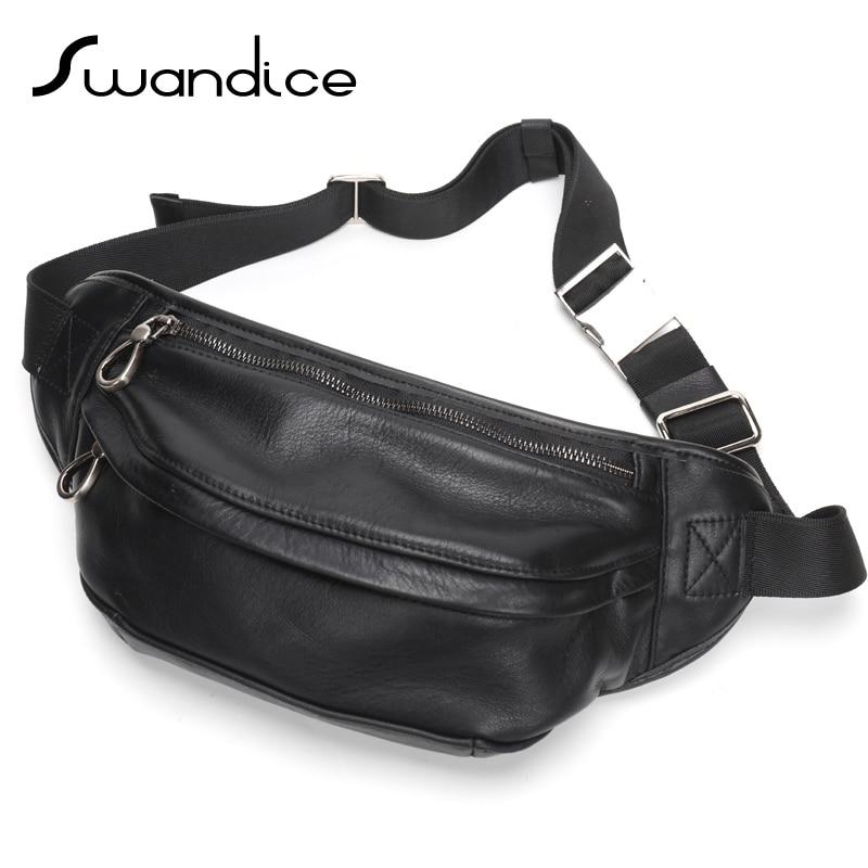 100 Real Genuine Natural Cow Leather Fanny Pack Chest Waist Bum Belt Bags Crossbody Shoulder Handbag