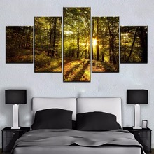 5 Panel HD Print Large Bright Morning Tree Forest Cuadros Landscape Canvas Wall Art Home Decor For Living Room Canvas Painting flavoring for panel fresh way morning dew sport goal ksp02