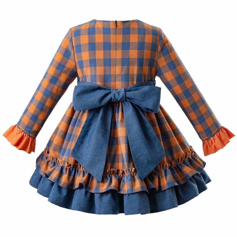 Pettigirl 2019 весеннее клетчатое платье принцессы для девочек, Двухслойное винтажное платье для девочек, элегантная одежда для детей, G-DMGD110-B434
