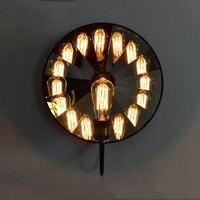 Лофт Северной Европы Американский Стиль промышленных ретро бра Стекло зеркало Освещение приспособление Ресторан настенный светильник E14 с