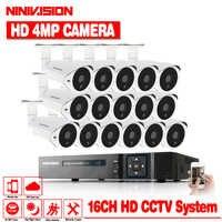 NINIVISION 4MP Video Überwachung System 16CH CCTV Security Kit 16 stücke 4.0MP Sicherheit Kamera Super Nachtsicht 16CH 5MP CCTV NVR