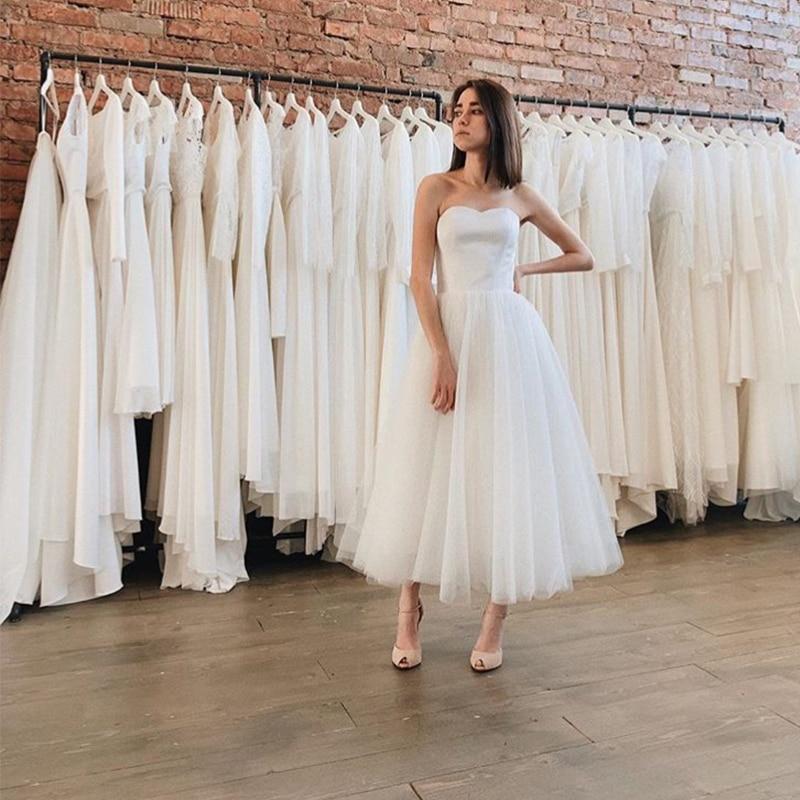 Simple Tea Length Wedding Dress Cheap White Ivory Short Vestido De Novia Custom Made Beach Bridal Dresses For Summer Wedding