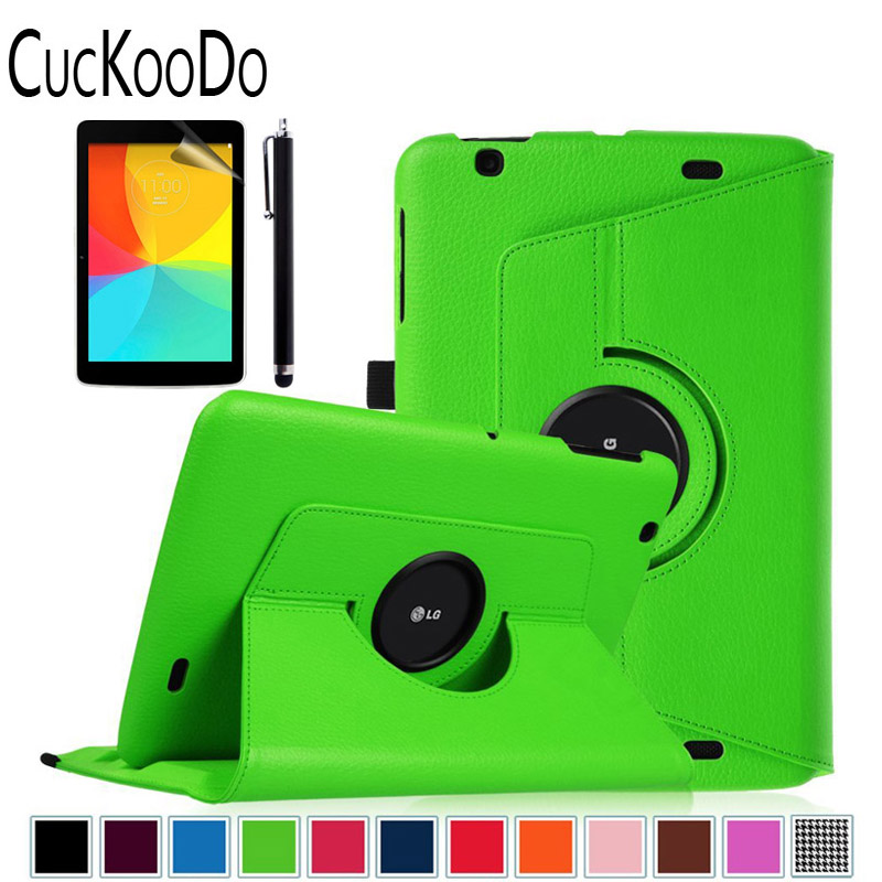 360 Rotating Case Cover with Auto Sleep / Wake Feature for LG G Pad V700 / VK700 LTE Verizon 10.1-Inch +Stylus +Screen Film