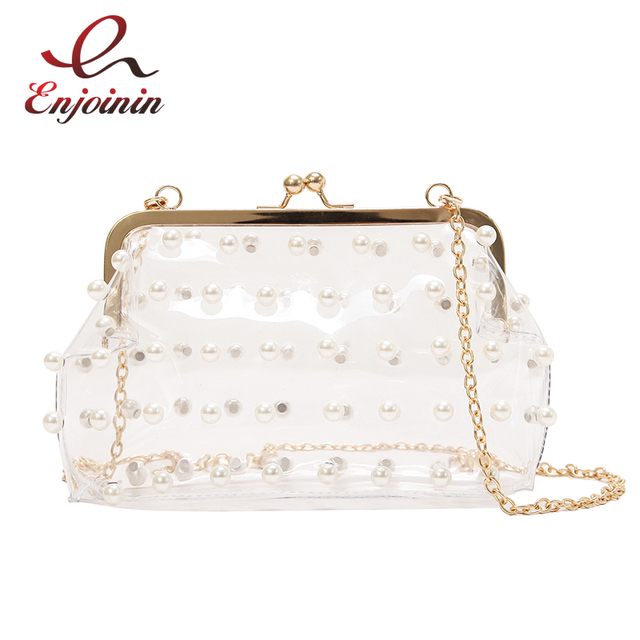 Transparent Fashion PVC Pearl Trend Women's Party Clutch Bag Evening Bag  Mini Chain Purse Shoulder Bag Crossbody Messenge Bag