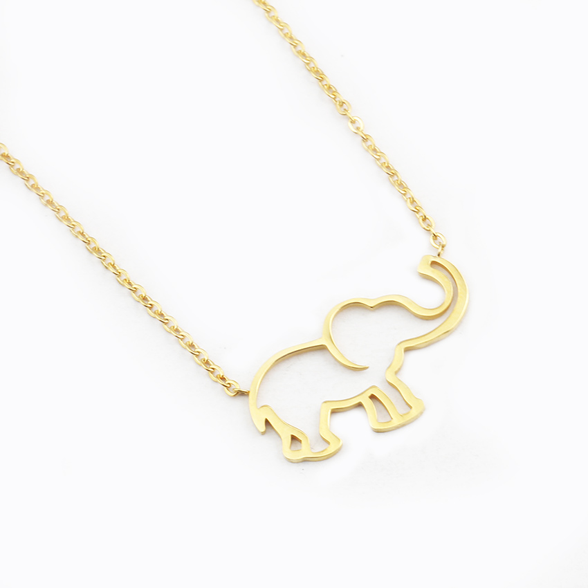 Collier Femme Stainless Steel Gold Chain Origami Elephant Pendant Necklaces For
