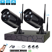 2CH 1080P HD Wireless NVR Kit P2P 720P Indoor Outdoor IR Night Vision Security 1.0MP IP Camera WIFI CCTV System