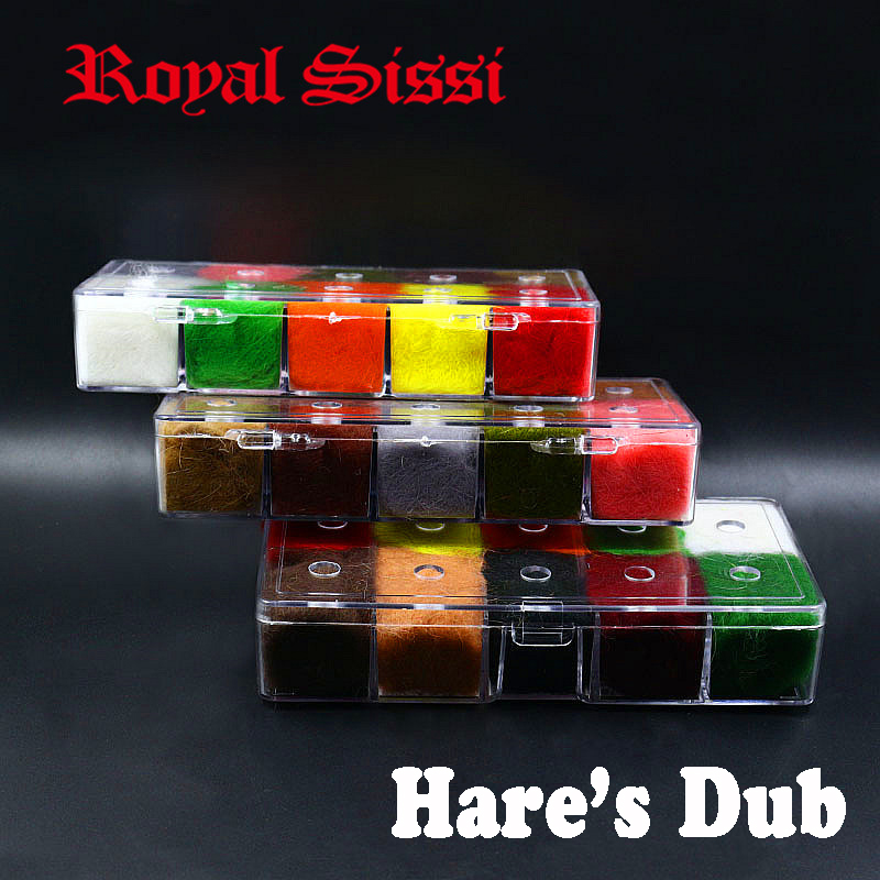 Royal Sissi 10 colors/box fly tying rabbit dubbing with luxury despenser KANINCHEN rabbit hair fiber mix guard hairs hare's dub