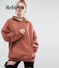 Rebicoo 2019 Autumn/winter New Loose Pure Color Hooded Bat-sleeved Hoodies Women Long Sleeve Hoodie Harajuku Sweatshirts Women stylish hooded bat sleeved loose fitting solid color zip up hoodie for women