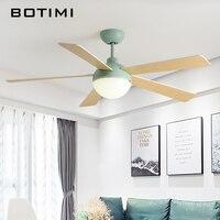 BOTIMI Led потолочных вентиляторов с подсветкой для Гостиная 220 В Ventilador Деревянный светильник потолочный вентилятор охлаждения с удаленным Упр