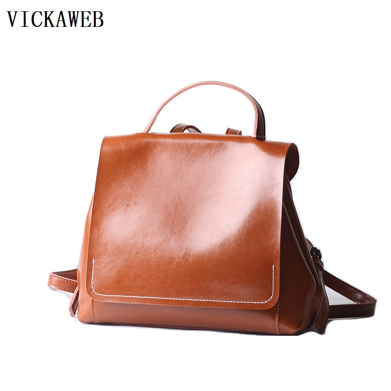 все цены на casual backpack women genuine leather bagpack vintage school bags for teenage girls travel bags