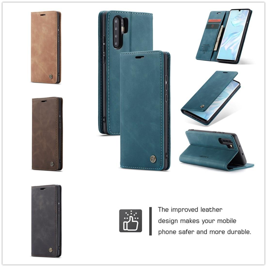 CaseMe for Huawei P30 Case Solid Color Retro Leather Pro Luxury Card Slot Magnetic Lite Flip Pu Wallet