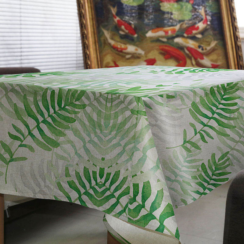 New hot-selling creative simple green leaf design home tablecloth fresh comfort kitchen coffee table hotel table cloth Custom