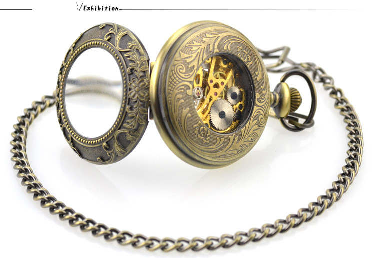 fob relógios clamshell lupa relógio masculino feminino