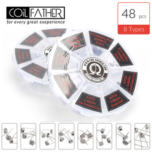 48pcs Coil Father 8-in-1 Prebuilt Coil Fused Alien Clapton Hive Flat Twisted Tiger Quad Electronic Cigarette Vape Wire Accessory цена в Москве и Питере