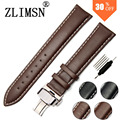 Genuine Leather Watch Strap Black Brown SS Metal Belt Buckle Mens Watchbands Belt Band Stainless Steel Buckle Clasp 18mm~26mm