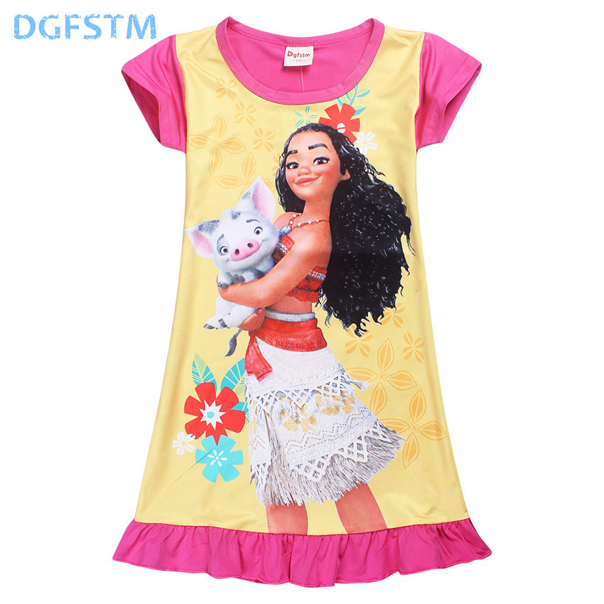 2017 Summer Moana Dresses for Girls Princess Birthday Party Dress Children Elsa Anna trolls Costume Kids Clothes Vestido vaiana