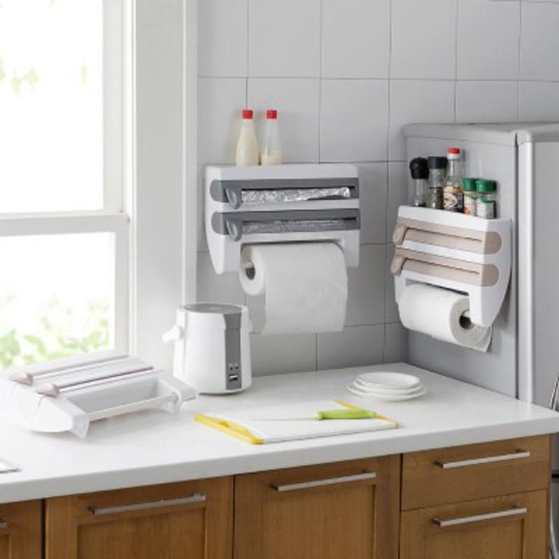 Küche Organizer Haftenden Film Sauce Flasche Lagerung Rack Zinn Folie Papier Handtuch Halter Küche Regal Kunststoff Wrap Schneiden