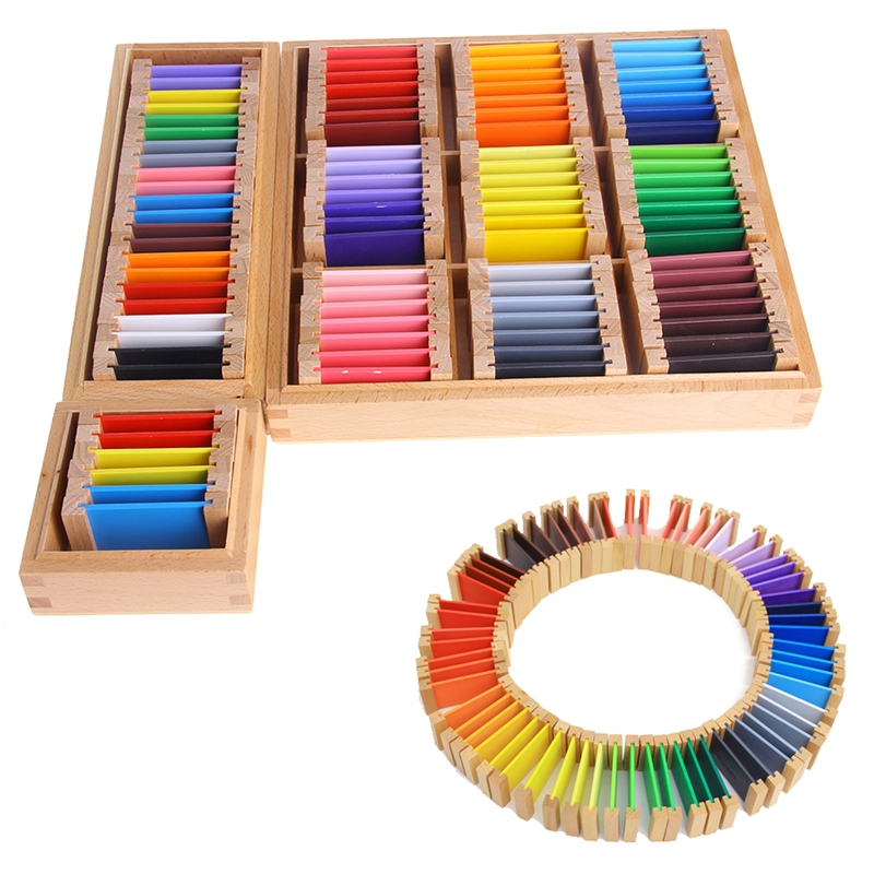Montessori Sensorial Material Learning Color Tablet Box 1/2/3 Wood Preschool Toy ...